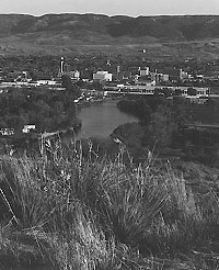 "Casper the Little City on the High Plains, Casper Events Center"" Casper Mountain in the background, North Platte River in the foreground. Integrated Imaging Photo  Copyright 2006 all rights reserved"